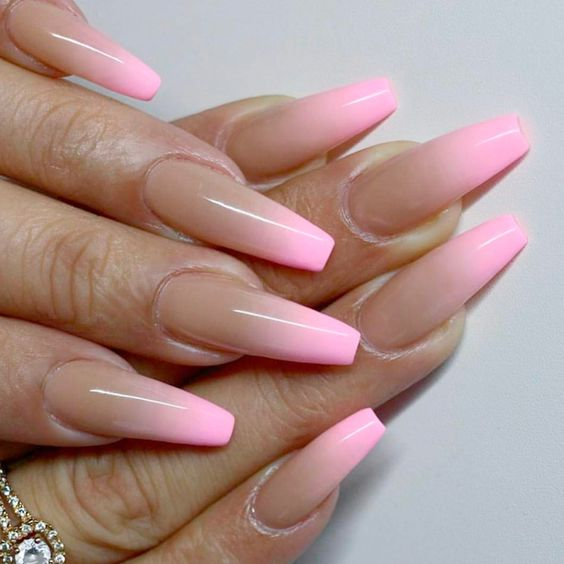 neon pink ombre nails