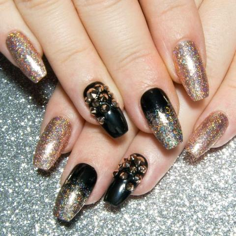 Ombre Nails with Black n Glitter