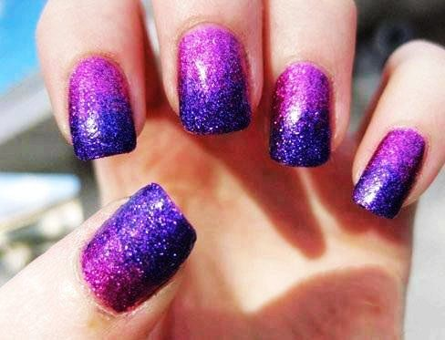 Purple Glitter Ombre Nails